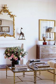 chest-of-drawers-dresser-living-room-brass-tables-coffee-gilded-mirror-eclectic-home-decor-ideas