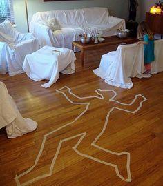 decoracion halloween, escena del crimen