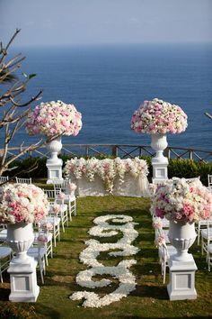 White and Blush Pink Wedding Ceremony - My wedding ideas