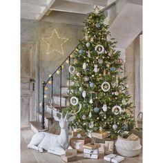 Déco de Noël sapins en bois H 46 cm NATURE