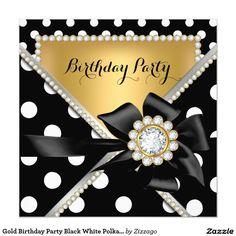 Gold Birthday Party Black White Polka Dots Invitation