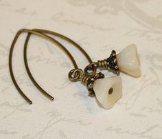 Vanilla Cream flower earrings Glass flower by CharmingLifeJewelry, $15.00