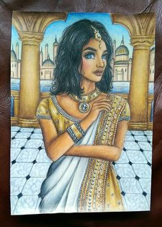 Amani Al'Hiza drawing from 'Rebel of the Sands' series. (Amani in the Sultan's palace - 'Traitor to the Throne') Drawn using Faber Castell polychromos pencils.