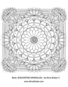 Free ornamental mandala coloring page by Alina Shalev from the book Enchanted Mandalas
