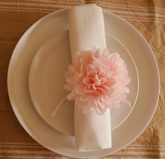 tissue paper flower napkin ring  add guest name on leaf