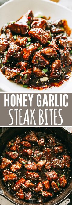 Honey Garlic Steak Bites - Tender, delicious, and juicy bites of sirloin steak c. - Honey Garlic Steak Bites – Tender, delicious, and juicy bites of sirloin steak cooked in a flavor - Beef Soup Recipes, Grilled Steak Recipes, Healthy Diet Recipes, Ground Beef Recipes, Vegetarian Recipes, Tortellini Recipes, Recipes Dinner, Meatloaf Recipes, Chicken Recipes