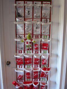 Advent calendar using a shoe organizer!