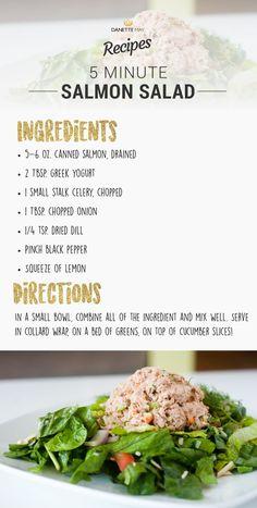 canned salmon, drained 2 Tbsp. greek yogurt 1 small stalk celery, chopped 1 T Canned Salmon Salad, Canned Salmon Recipes, Salmon Salad Recipes, Healthy Salmon Recipes, Seafood Recipes, Dannette May Recipes, Clean Eating Recipes, Healthy Eating, Cooking Recipes