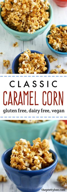 A classic recipe for deliciously crunchy and sweet caramel corn. This tasty recipe is sure to become a family favorite! Wheat Free Recipes, Dairy Free Recipes, Vegan Recipes, Snack Recipes, Copycat Recipes, Yummy Recipes, Caramel Corn Recipes, Popcorn Recipes, Sin Gluten