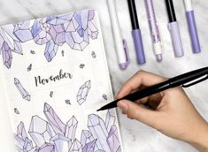 "September Bujo crystal Theme AmandaRachLee (@amandarachdoodles) auf Instagram: ""It's finally here! My November plan with me + bullet journal setup is live on my channel!   i…"""