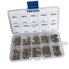 VAPKER 100 Pcs 10 value DIP Quartz Crystal Oscillator 4M,6M,8M,10M,12M,16M,20M,22.1184M,24M,25M Crystal Resonators Oscillator Assortment Kit. Product Name : Crystal Oscillator. 10 Value:4 MHz, 6 MHz, 8 MHz, 10 MHz, 12 MHz, 16 MHz, 20 MHz, 22.1184 MHz,24MHz, 25 MHz. Quantity:100 Pcs. Packed with Assortment Box. Widely used in TV, automobile electronics, pc cards, electronical meter, DVD, MP3, MP4, etc.