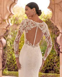 24 Stunning Trend: Tattoo Effect Wedding Dresses ❤ tattoo effect wedding dresses with long sleeves lace buttons demetrios #weddingforward #wedding #bride