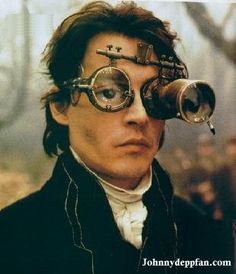 "Johnny Depp as Ichabod Crane in ""The Legend of Sleepy Hollow and his steampunk medical headgear"
