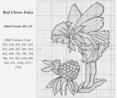 Cross stitch - fairies: Red clover fairy - Cicely Mary Barker - close-up segment (chart)