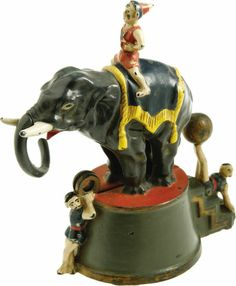 Elephant and Three Clowns Mechanical Bank made by J. & E. Stevens Co., Cromwell, CT, circa 1882. Heritage Auctions