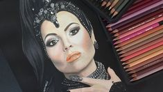 """DRAWING THE EVIL QUEEN Colored Pencil Drawing of Lana Parrilla as Regina, The Evil Queen in Once Upon a Time, a tv serie about the Disney fairy tales transported to the """"real world"""". @isabelgiannuzzi #evilqueen #drawing #draw #art #arte #disegno #illustration #colors #lanaparrilla #onceuponatime"""