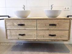 Afbeeldingsresultaat voor steigerhouten badkamer meubel