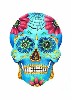 #skull #messicanskull #myart #colors #flowers #eyes #bones