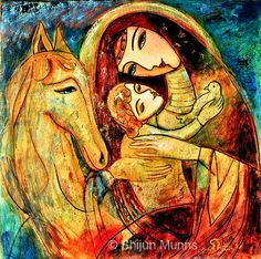 """""""Mother and Child on Horse"""" oil on canvas 20x20  2011 © Shijun Munns   #Art #OilPaintings #painting #artwork #originalart #artist #homedecor #wallart #gallery #exhibit #create #collection #women Painted Horses, Cross Paintings, Original Paintings, Mother And Child Painting, Mosaic Pictures, Baby Horses, Madonna And Child, Art Sites, Aboriginal Art"""