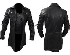 """Xtreemleather present the new arrival """"Steampunk Gothic trench Coat for all stylish boys. Made from well furnish Synthetic Leather with covering of soft viscose lining. Our professional designers prepared this outfits with fine quality stitching to bring charm and attraction in your outlook. Hurry up places your order now and get it on your doorstep."""