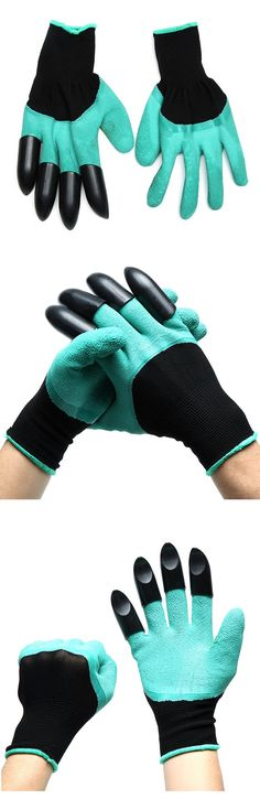 US$4.69  1Pair Gardening Digging Gloves Planting Rubber Polyester Safety Work Gloves Builders Grip Gloves