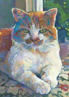 KMSchmidt-ACEO-Ltd-Ed-Collectible-Art-Card-orange-white-TABBY-CAT-art-print