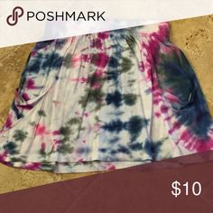 Homemade tie dyed mini skirt Purchased as white cotton mini skirt from Mossimo. Tie dyed by owner with purple navy and charcoal grey. Elastic waist band and side pockets. Mossimo Supply Co Skirts