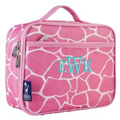 Personalized Lunch Bag Pink Giraffe, Monogrammed School Lunch Box, Cooler