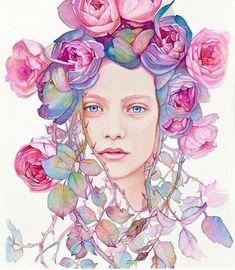 Like the flower hair. Ideas for next tattoo