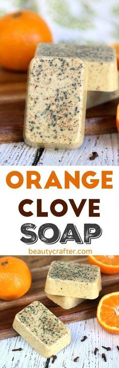 Orange Clove Soap Recipe - Easy Melt and pour DIY Soap #soap #diycrafts