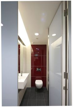 Glass Concerto duct panels plus Alto Kristalla glass cubicle doors - Washroom Washroom office refurb project. Cubicle Door, Toilet Cubicle, Back Painted Glass, Interior Fit Out, Retail Sector, Washroom, Door Design, Doors, Cut Outs