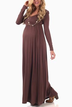 Mocha-Long-Sleeve-Maternity-Maxi-Dress