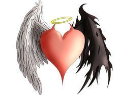 Old School Color Comic Bird Angel Demon Heart Wings Tattoo Designs Angel Devil Tattoo, Angel And Devil, Demon Tattoo, Angel Y Diablo, Demon Heart, Ange Demon, Demon Wings, Heart With Wings, Heart Tattoo Designs