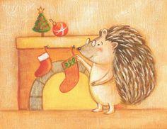 Hedgehog with Stocking Christmas Card - set of 4 cards by Megumi Lemons Woodland Illustration, Hedgehog Illustration, Winter Illustration, Children's Book Illustration, Illustrations, Christmas Pajamas, Christmas Stockings, Christmas Cards, Woodland Creatures