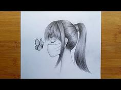 Very Easy Drawing, Easy Drawing Steps, Step By Step Drawing, Mask Drawing, Painting & Drawing, Bff Drawings, Pencil Drawings, Girls Wear, Paintings