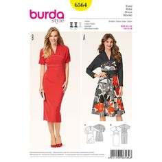This dress with kimono sleeves has an Asian touch that can be underscored by a skillful use of color and print. A Burda Style sewing pattern.