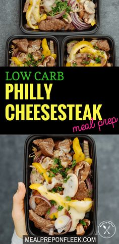 Healthy Meals Low Carb Philly Cheesesteak Meal Prep - A fast, simple and flavorful recipe that is made with low carb ingredients. Gluten free and keto too! Lunch Recipes, Beef Recipes, Low Carb Recipes, Zoodle Recipes, Tilapia Recipes, Spiralizer Recipes, Recipies, Low Carb Lunch, Low Carb Diet