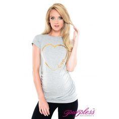 Love Heart-Slogan Cotton Printed Maternity Top 2011 Light Gray Melange  Refresh your summer wardrobe and stay on trend this season with our stunning printed Top. Our stylish, short sleeved maternity top will be sure to make you stand out in a crowd.