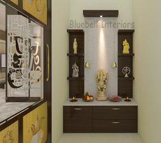 Temple Design For Home, White Quartz Counter, Pooja Room Door Design, Puja Room, Room Doors, Quartz Countertops, Cladding, Liquor Cabinet, House Design