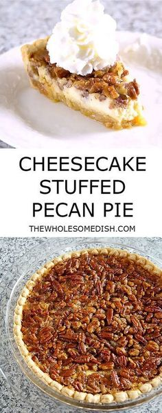Cheesecake Stuffed Pecan Pie has a crunchy sweet pecan pie top layer and a creamy cheesecake bottom layer. It's a perfect dessert for the holidays! #cheesecake #pecan #pie #pecanpie #recipe #holiday #holidayrecipes #dessert #dessertrecipes #Thanksgiving #Christmas #thanksgivingdesserts #christmasdesserts #creamcheese via @afinks