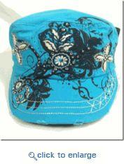 Western Floral Baseball Cap Cute, Cute, Cute Turquoise