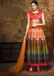 Party Wear Multi Colour Banglori Silk Embroidered Work Anarkali Suit
