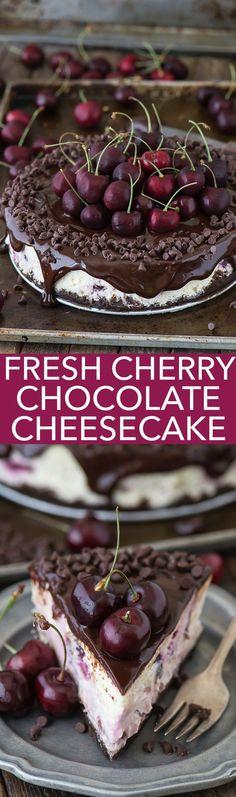 Fresh chocolate cherry cheesecake recipe with a chocolate crust, fresh cherries baked into the cheesecake, dripping with ganache.