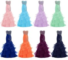 Sparkling Sweetheart Strapless Organza Long Mermaid Prom Dress With Sequins #prom #evening #party #dress