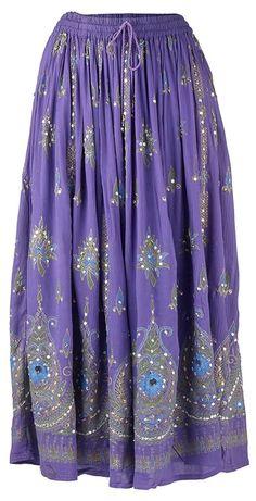 Womens Print Elastic Waistband Long Broom/Maxi Skirt with Sequin Detail