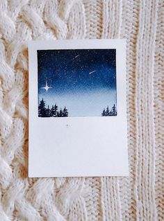 How To Paint Watercolor Night Sky In Polaroid Frame paintings sky Watercolor Polaroid Night Sky Painting Ideas Watercolor Night Sky, Night Sky Painting, Easy Watercolor, Watercolor Landscape, Abstract Landscape, Watercolor Trees, Landscape Paintings, Watercolor Animals, Tattoo Watercolor