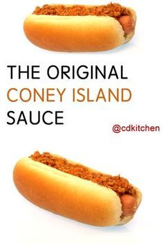 original coney island sauce recipe cdkitchen com - The world's most private search engine Hot Dog Recipes, Chili Recipes, Sauce Recipes, Cooking Recipes, Hot Dog Chili Sauce Recipe, Coney Island Hot Dog Sauce Recipe, Coney Hot Dog Chili Recipe, Recipe For Coney Dog Sauce, Sauces