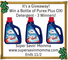 REVIEW & GIVEAWAY $$ Win a Bottle of New Purex Plus OXI Detergent – 3 Winners!!