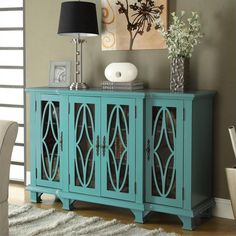 Cabinet with 4 Glass Doors in Teal