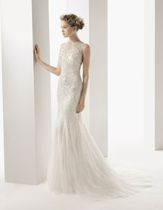 Long wedding dress and beaded overlay. Soft by Rosa Clará 2014 Collection.